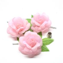 Pack of 3 Vintage Peachey Pink Fabric Roses